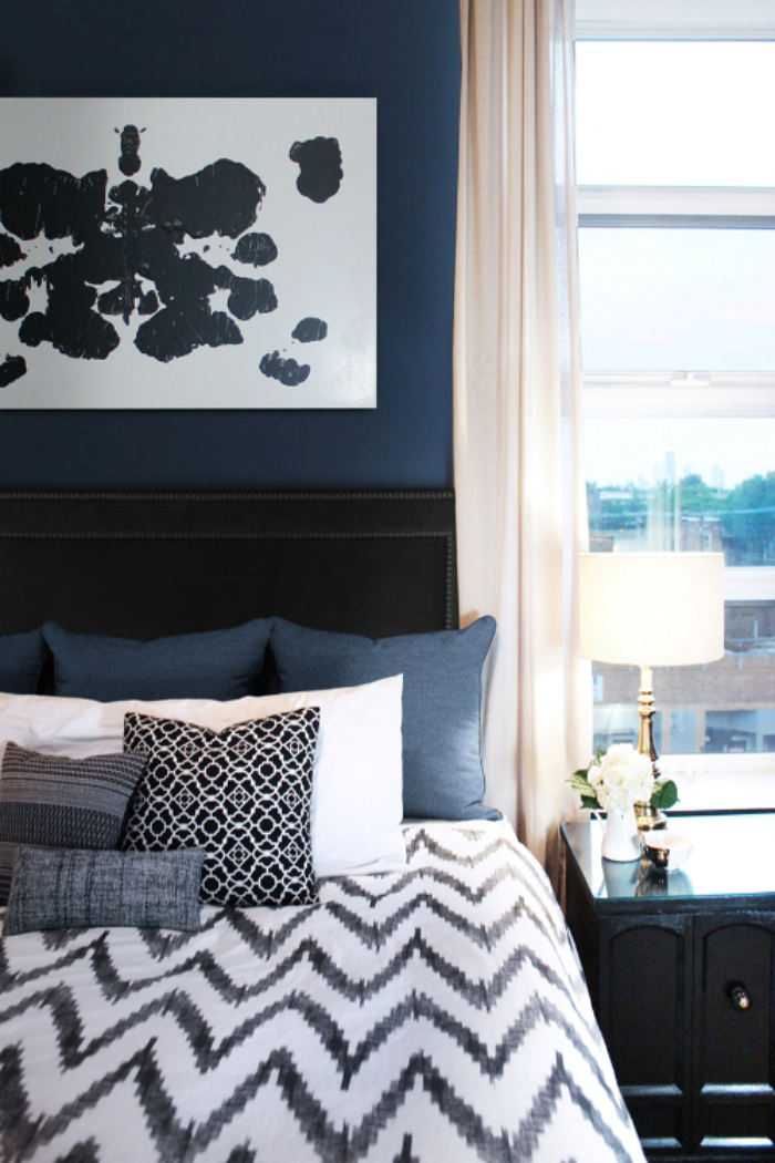 Master Bedroom Inspiration Navy Walls Lemon Thistle