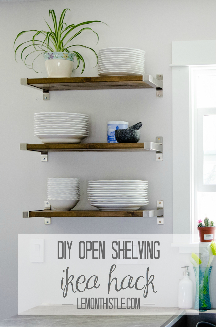 DIY Open Shelving - Ikea hack - lemonthistle.com