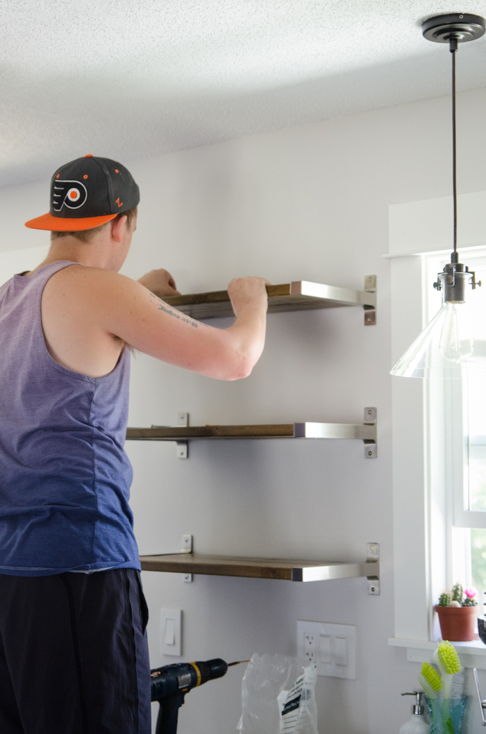 Diy Open Shelving For Our Kitchen Lemon Thistle