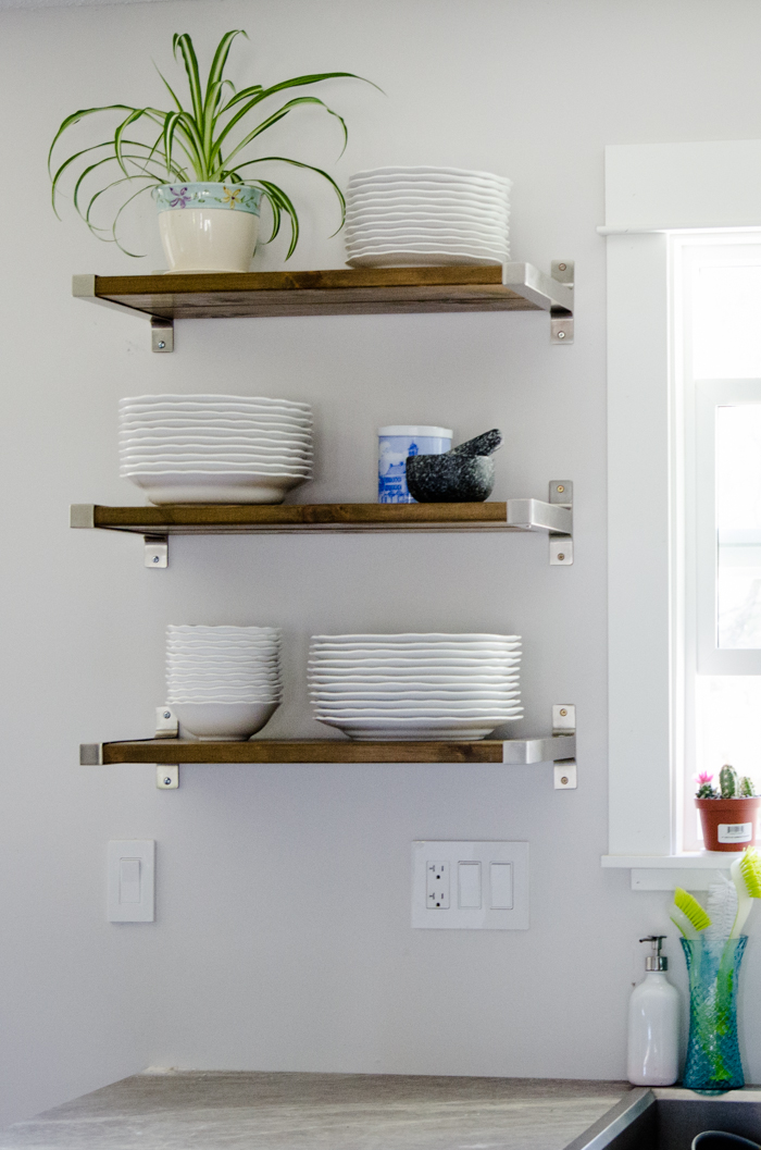 Diy open shelving for our kitchen lemon thistle Open shelving