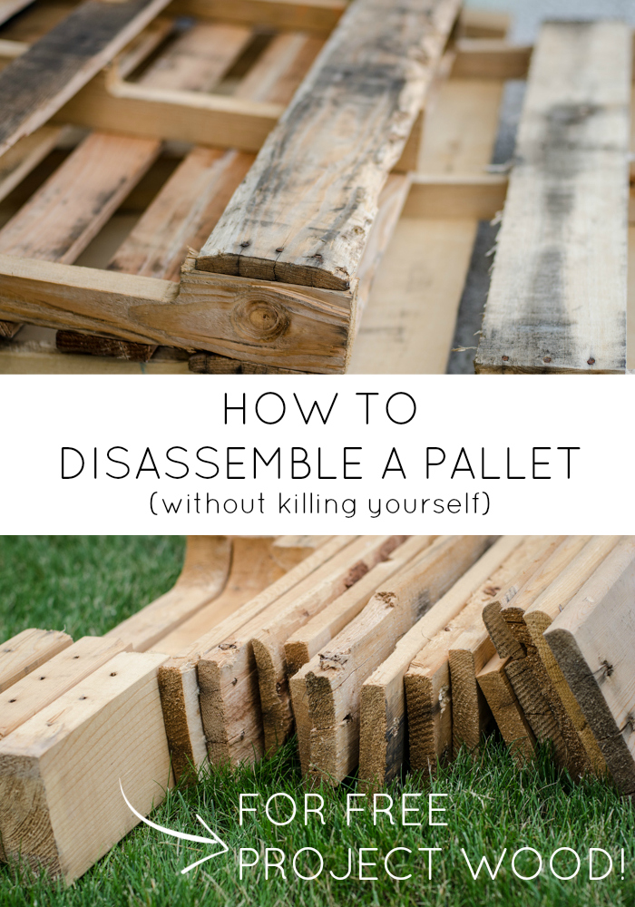 old wood pallet and pieces of free wood from pallet disassembly with text- how to disassemble a pallet without killing yourself for free project wood