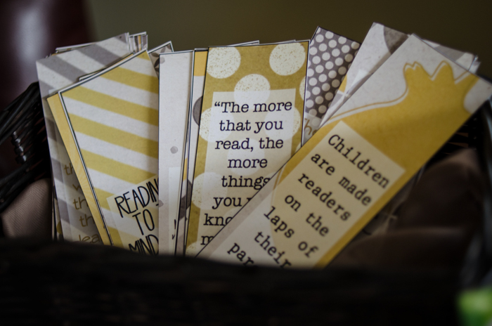 DIY Vintage Story Book Baby Shower- Book Mark Favours- I love the sayings on these! So sweet.