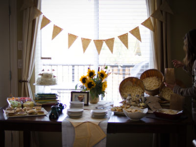Love this super cute baby shower idea! I love the book pages as a table runner