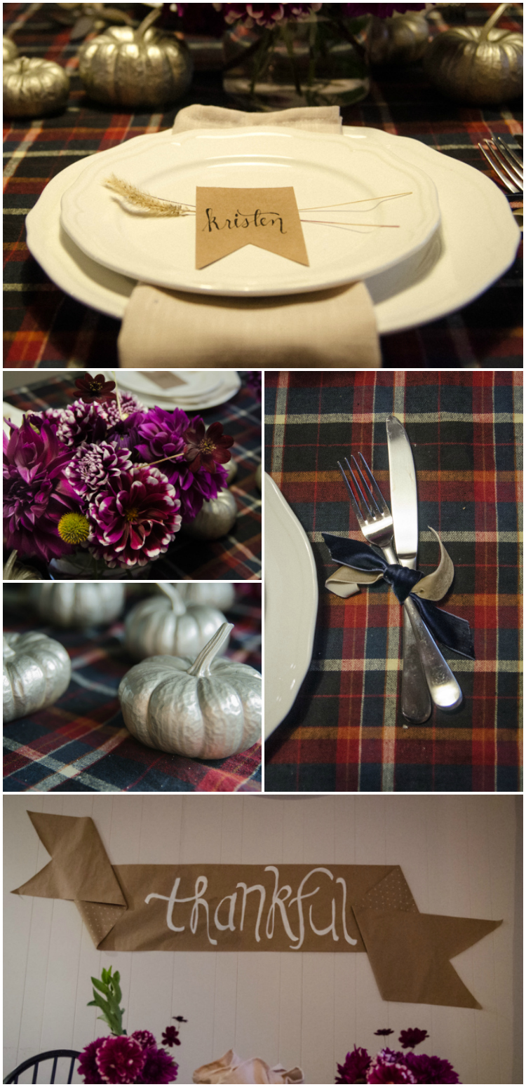 I love this thanksgiving table! Such beautiful rich tables, a nice alternative to the typical yellow and oranges
