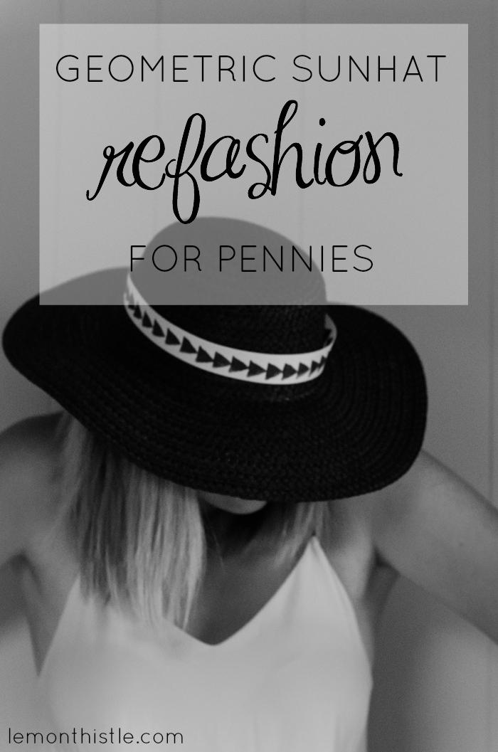 DIY Geometric Sunhat Refashion for pennies! Lemonthistle.com