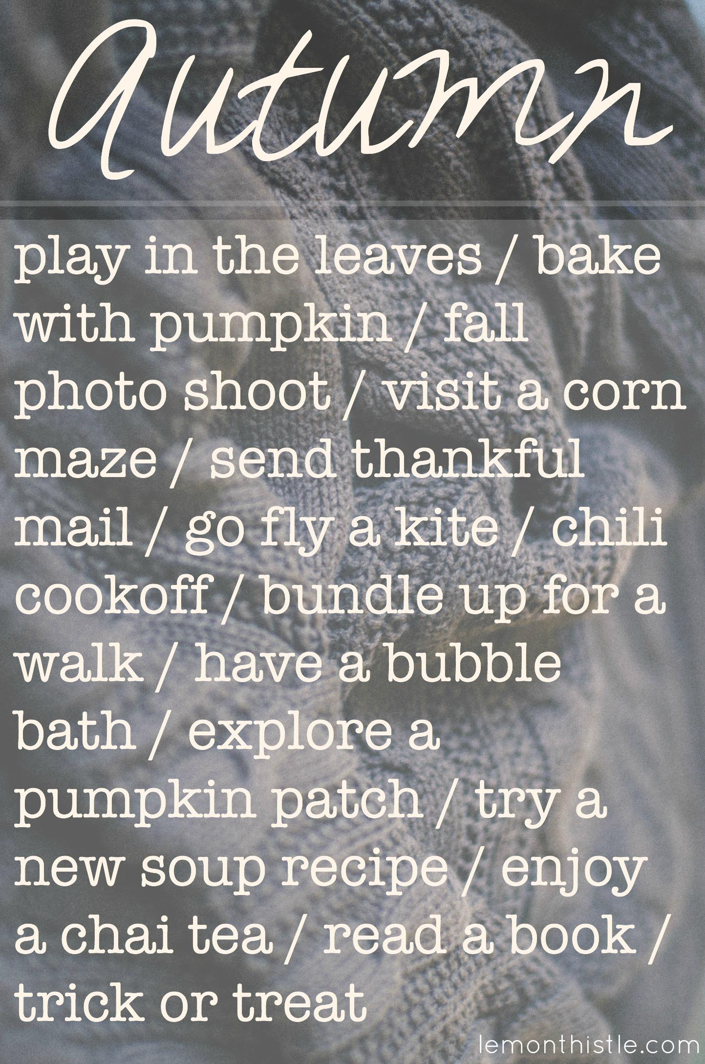 Love this list! Autumn To Do List - Lemonthistle.com
