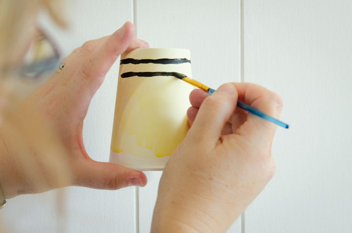 DIY Watercolour Party Hats and Cups for a Bumble Bee Party