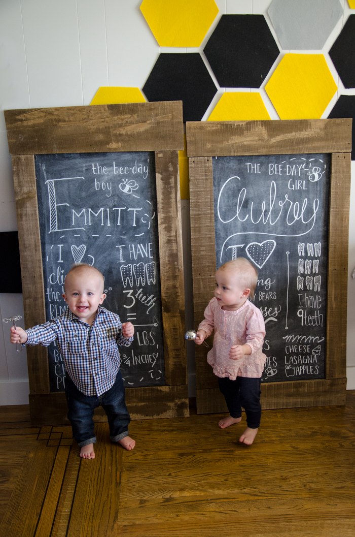 Fun chalkboards for a one year old! DIY First Beeday Party