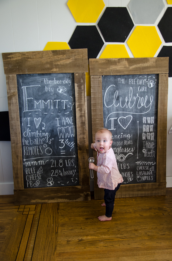 Stats chalkboards for a one year old birthday party! DIY First Beeday Party