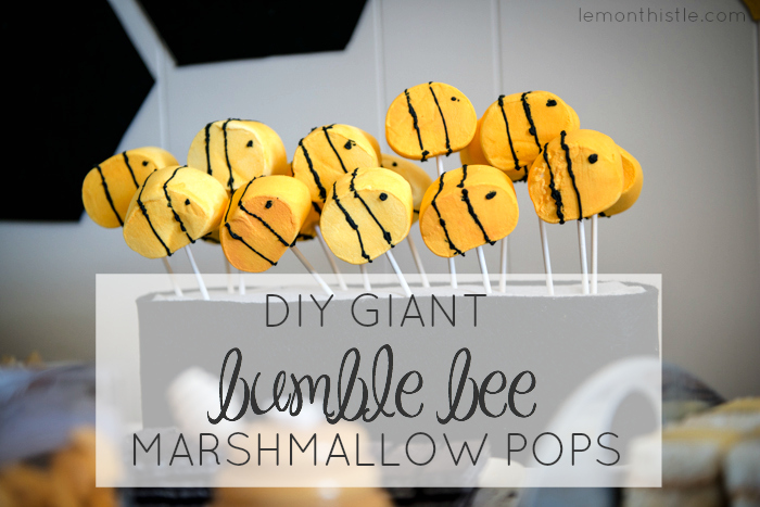 DIY Giant Bumble Bee Marshmallow Pops