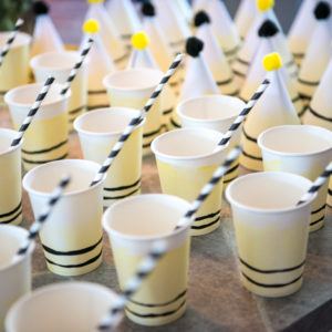 Such fun party cups for a DIY First Beeday Party