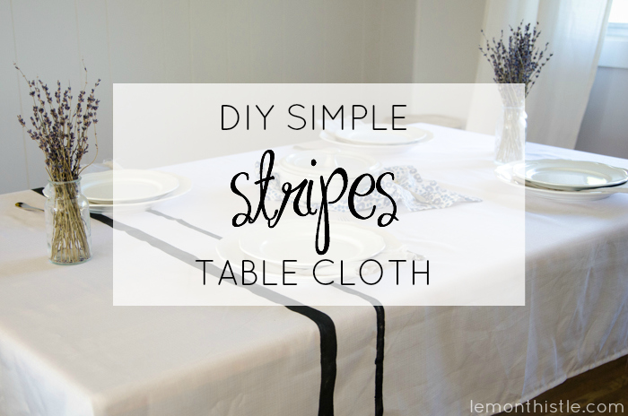 Love this DIY Simple Stripes Table Cloth! Reminds me of grain sacks.