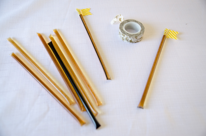 Honeys stix as a favour for a bee themed party! DIY First Beeday Party