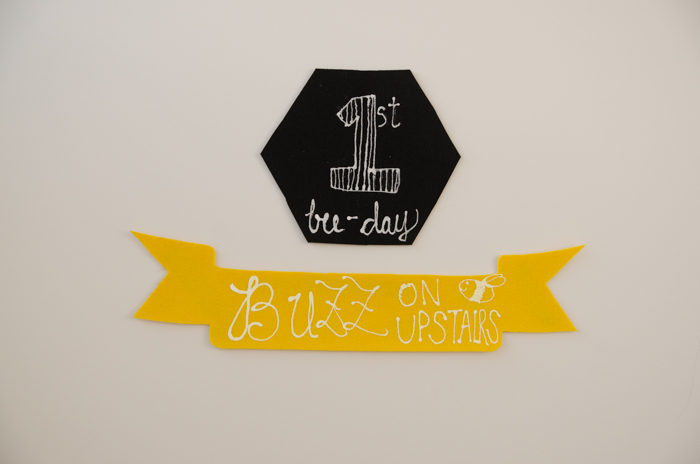 Signage for a DIY First Beeday Party