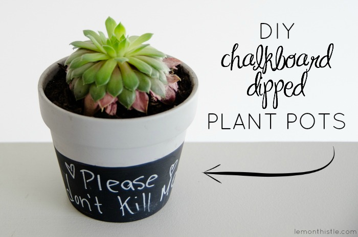 DIY Chalkboard Dipped Plant Pots