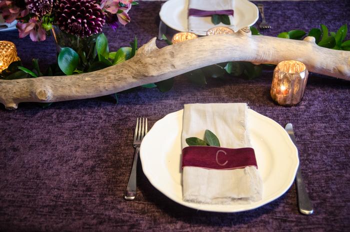 DIY Monogrammed Velvet Napkin Rings