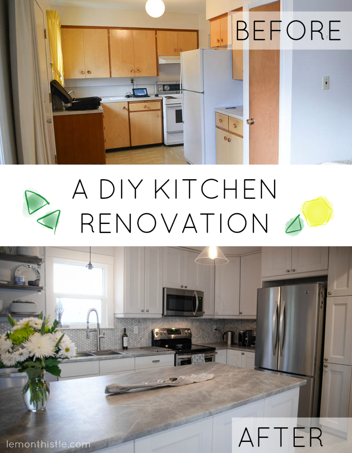 Before and after diy kitchen renovation lemon thistle for Diy small kitchen remodel