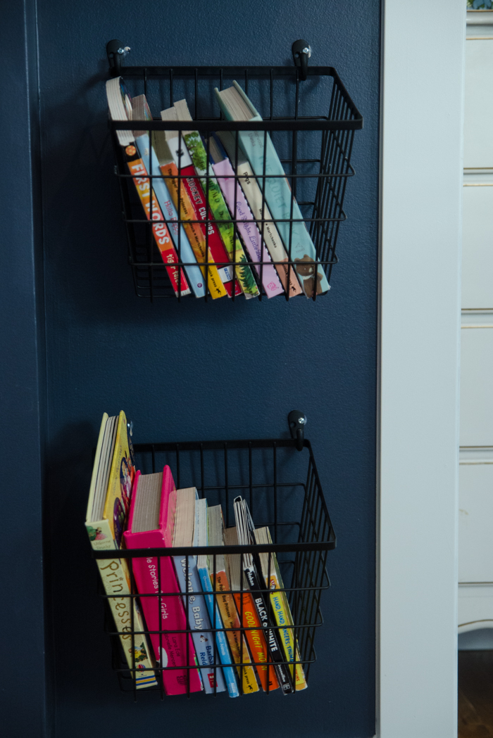 Simple Storage Solution! Book Baskets on Hooks