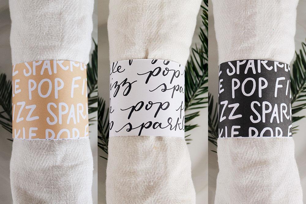 New Year's Eve Napkin Wraps - Free Printable