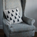 DIY Hand Stamped Holiday Tree Pillow Slip Cover (Love a somewhat Scandi Christmas!)