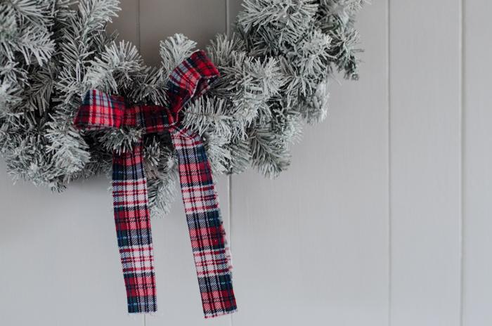 DIY Flocked and Tartan Wreath