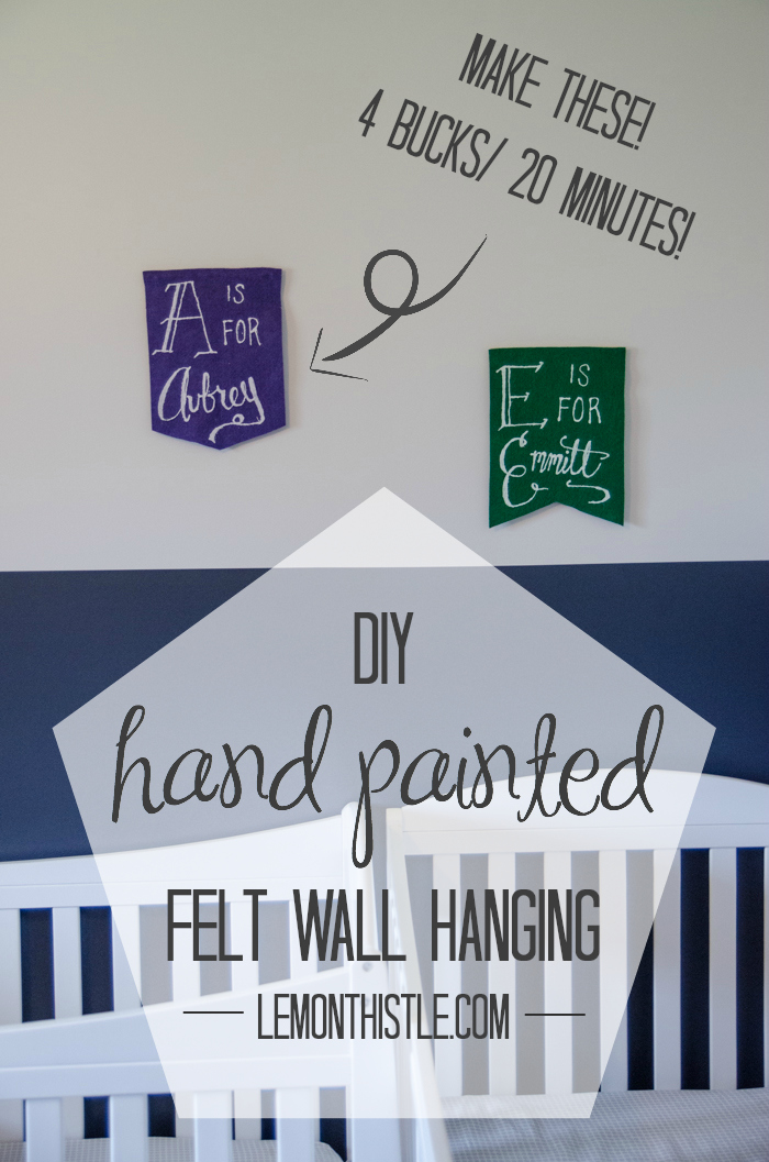 DIY Hand Painted Wall Hangings from Felt- these are super cute for a nursery!