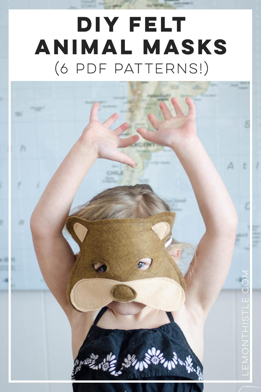 Felt Bear Mask with text overlay - 6 pdf patterns for felt animal masks