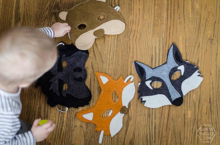 Bear, gorilla, fox and wolf felt masks