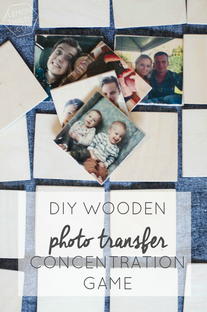 DIY Wooden Photo Transfer Memory Game- what a fun gift idea! I loved Concentration as a kid