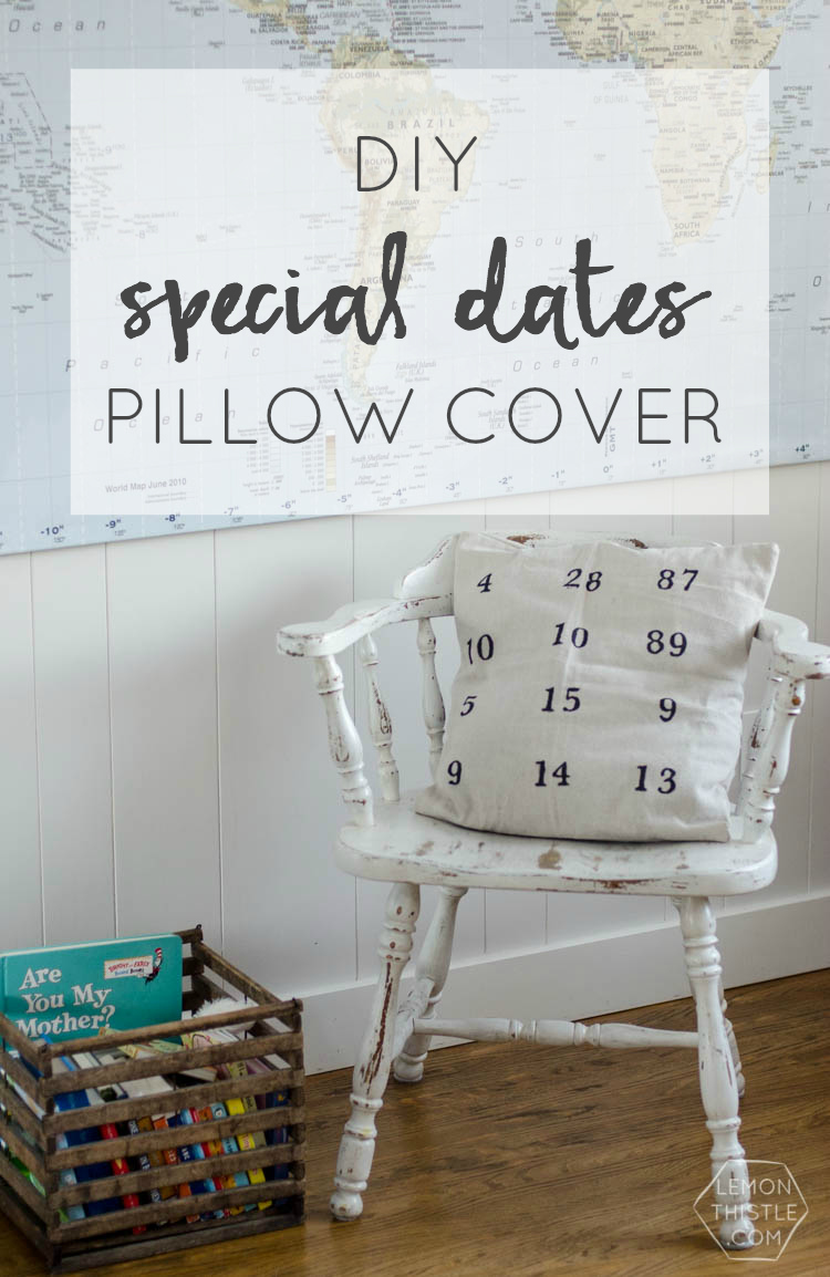 DIY Special Dates Pillow- I love meaningful home decor