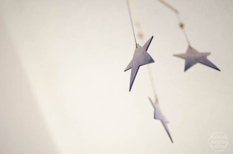 DIY Watercolor Wooden Stars Mobile for a Nursery- So Dreamy!