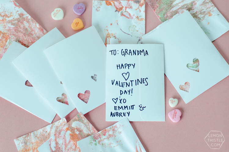 DIY Finger Painted Envelope Valentines- perfect for grandparents!