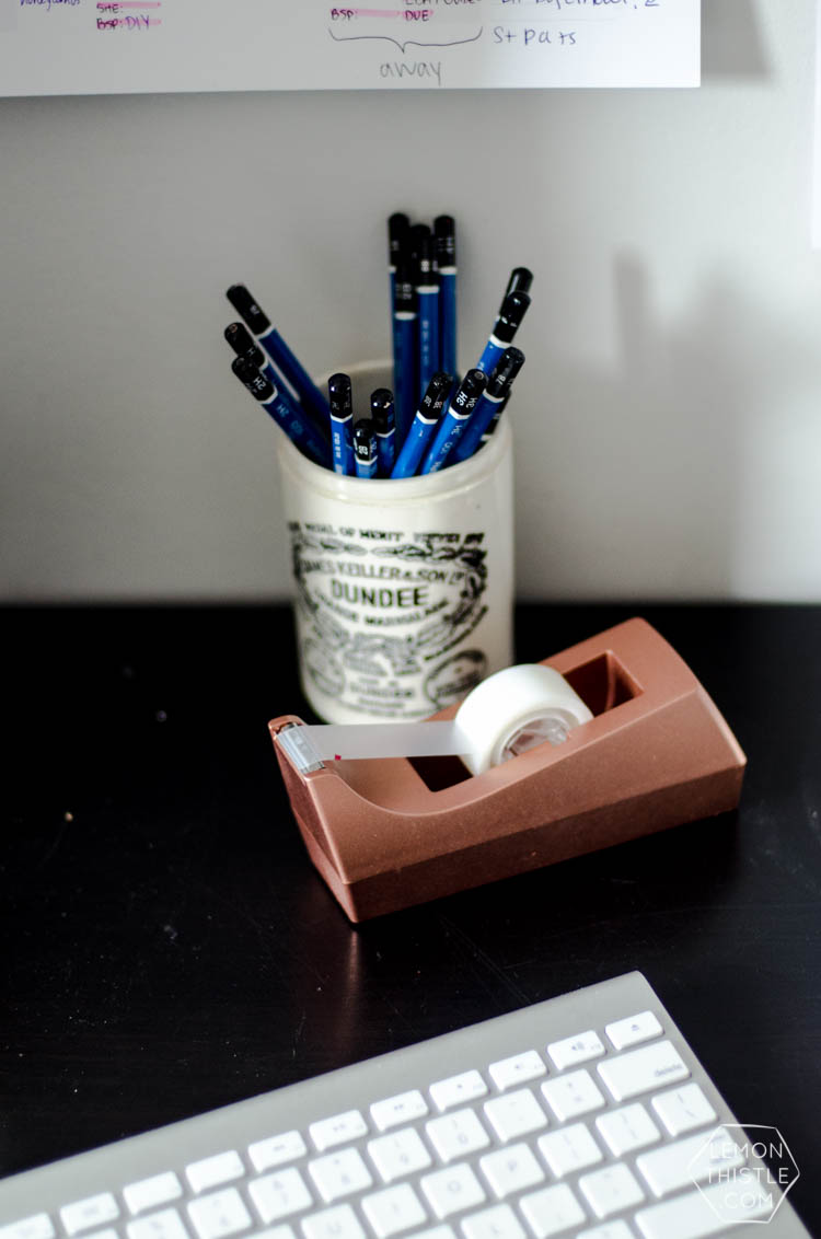 DIY Metallic Desk Accessories- I love this copper tape dispenser!