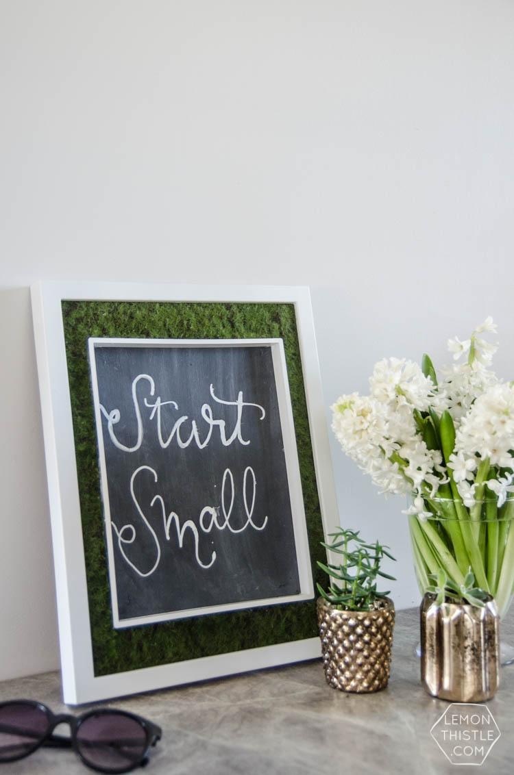 DIY Moss Framed Chalkboard - Lemon Thistle