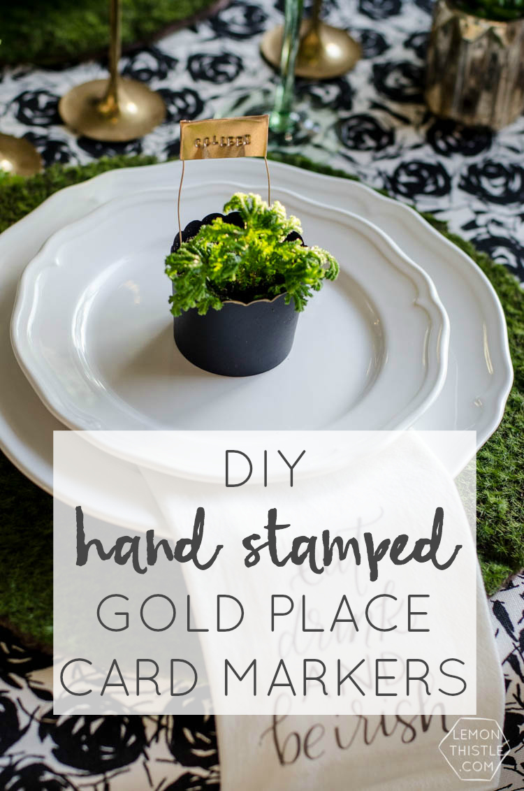 DIY hand stamped Gold Place Markers for a classy Saint Patrick's Day Party... I love these!