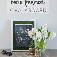 DIY Moss Framed Chalkboard- such a cool idea!