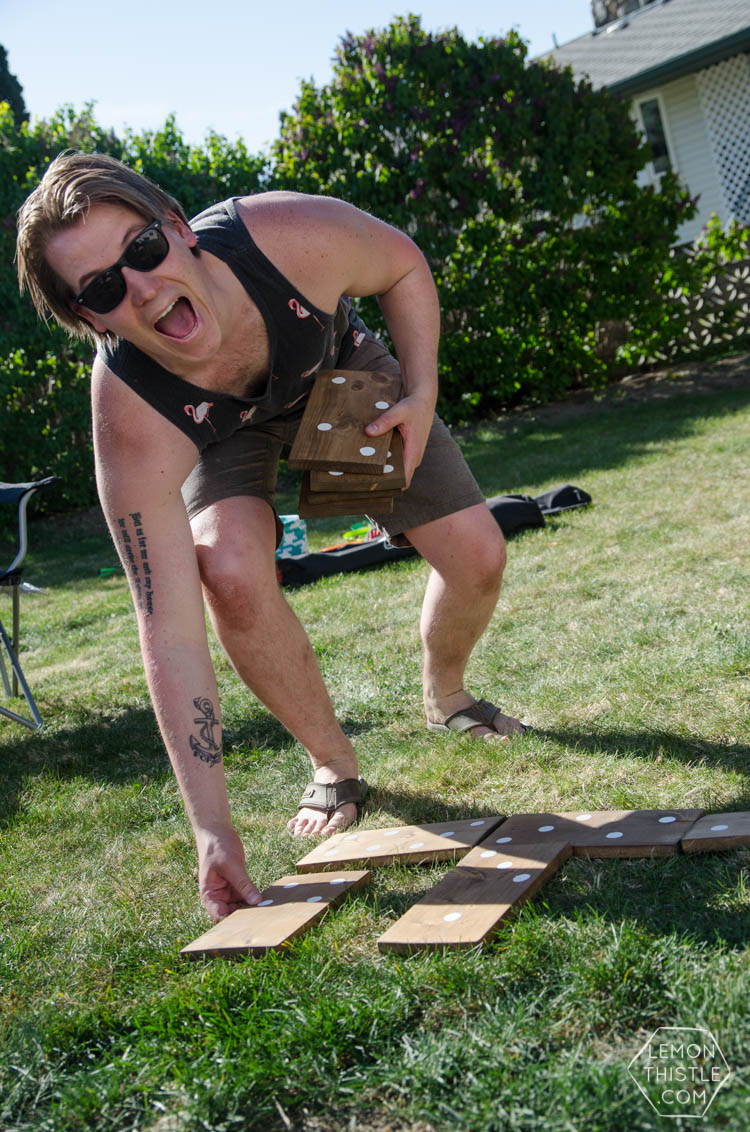DIY Yard Games- I love the idea of having dominoes in my backyard-