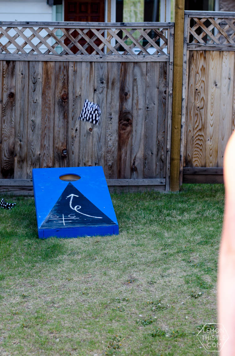 DIY Yard Games- I love the idea of having dominoes in my backyard-and this chalkboard cornhole is pretty awesome too!
