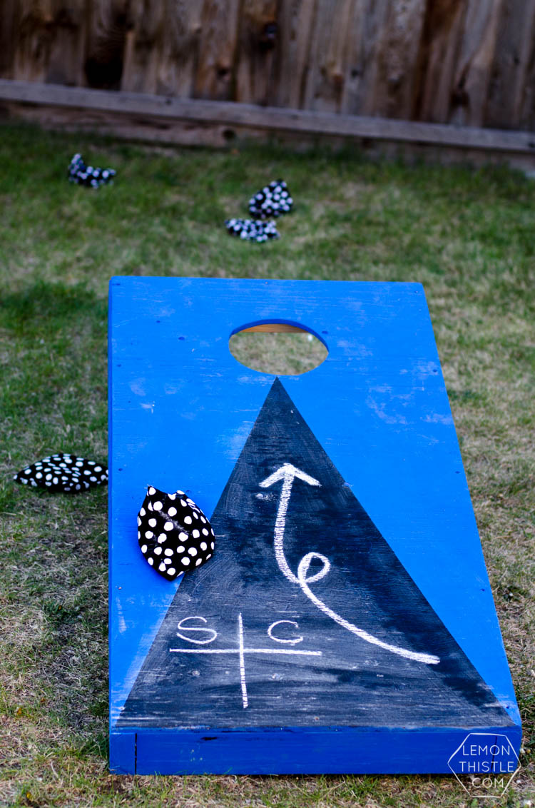 DIY Yard Games- I love this! I've seen Jenga but it's so much fun to have options... like yahtzee! Or this Cornhole