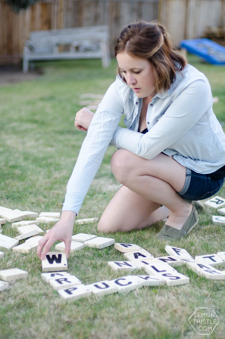 DIY Yard Games- I love this! I've seen Jenga but it's so much fun to have options... like yahtzee! Or this speed scrabble