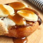 Nutella Toasted Marshmallow Banana Pizza with Caramel Sauce