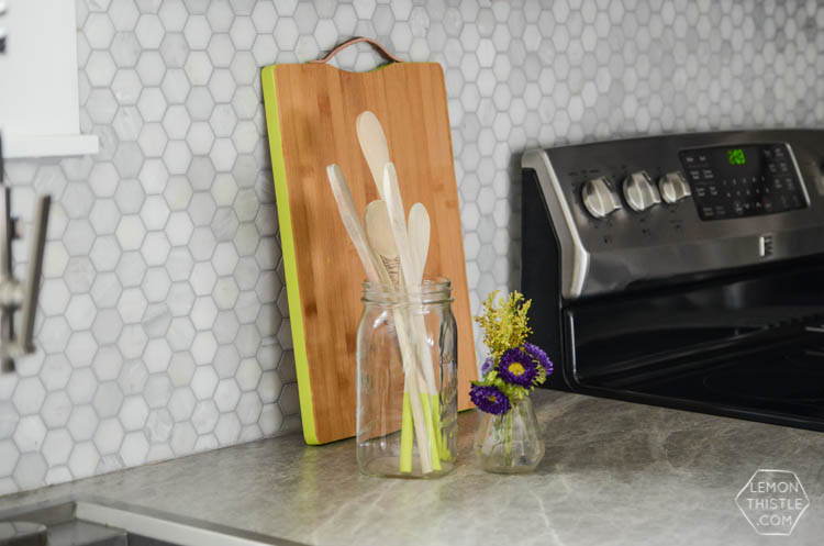 DIY Neon Edged Kitchen Tools- such a fun pop of color!