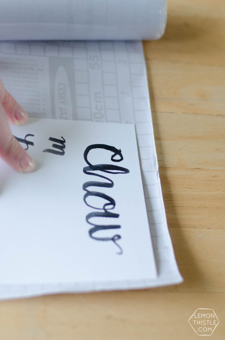 Turn any art into a dry erase meal planner! I love the hand lettering on this one