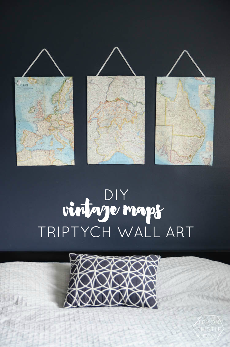 DIY Vintage Maps Wall Hangings