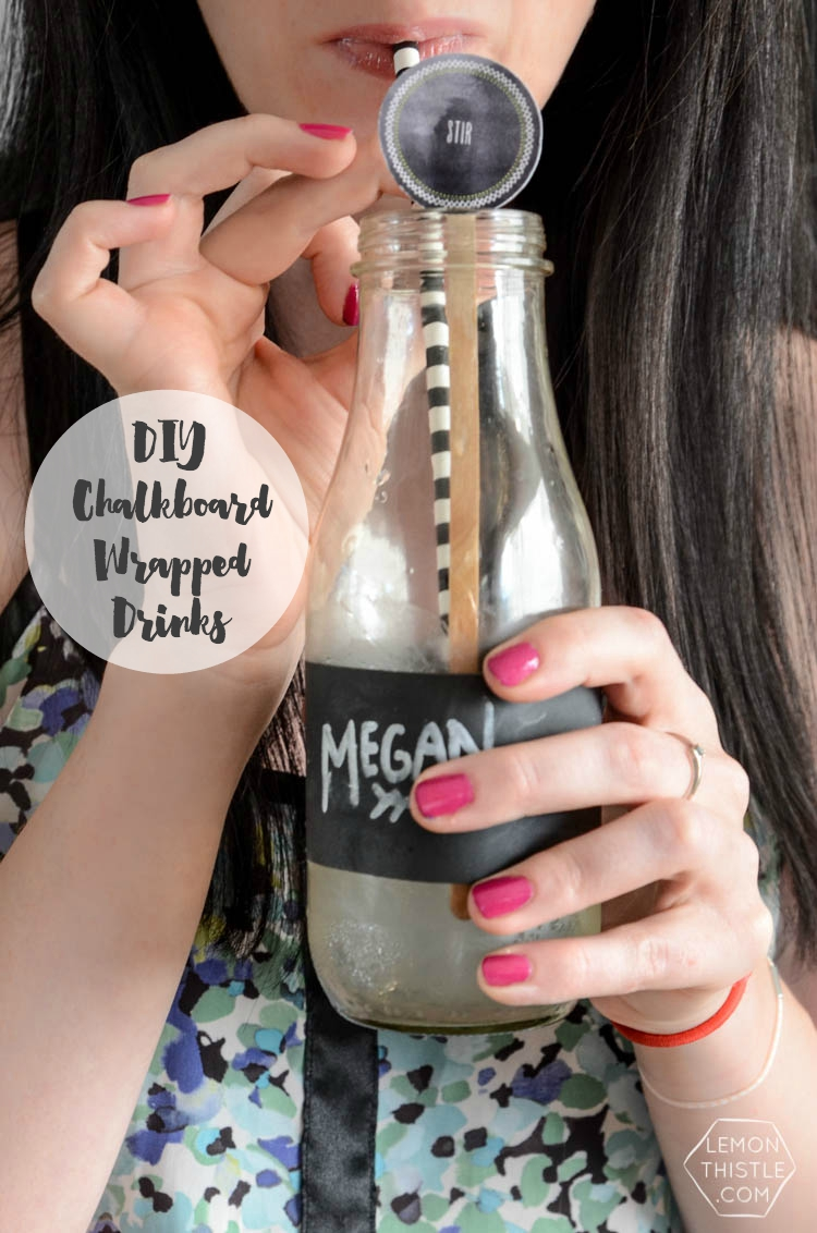 DIY Chalkboard Wrapped Drink Jars... 2 minutes and NO dry time! Perfect addition to a party