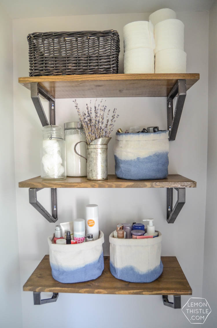 Diy dip dye cloth baskets bathroom organization lemon - Bathroom storage baskets shelves ...