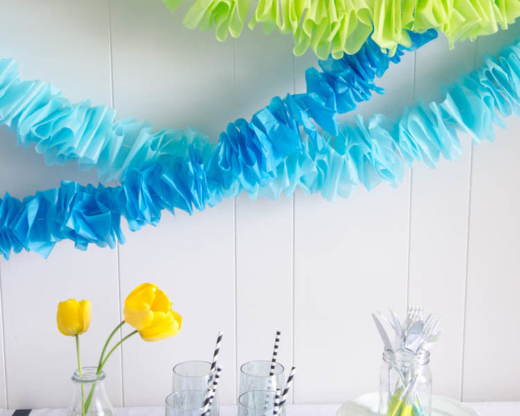 DIY Ruffled Tissue Paper Garland- so simple and costs pennies!