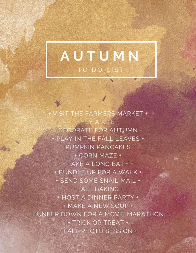 Autumn To-Do List (bucket list! but all things I want to do this fall)
