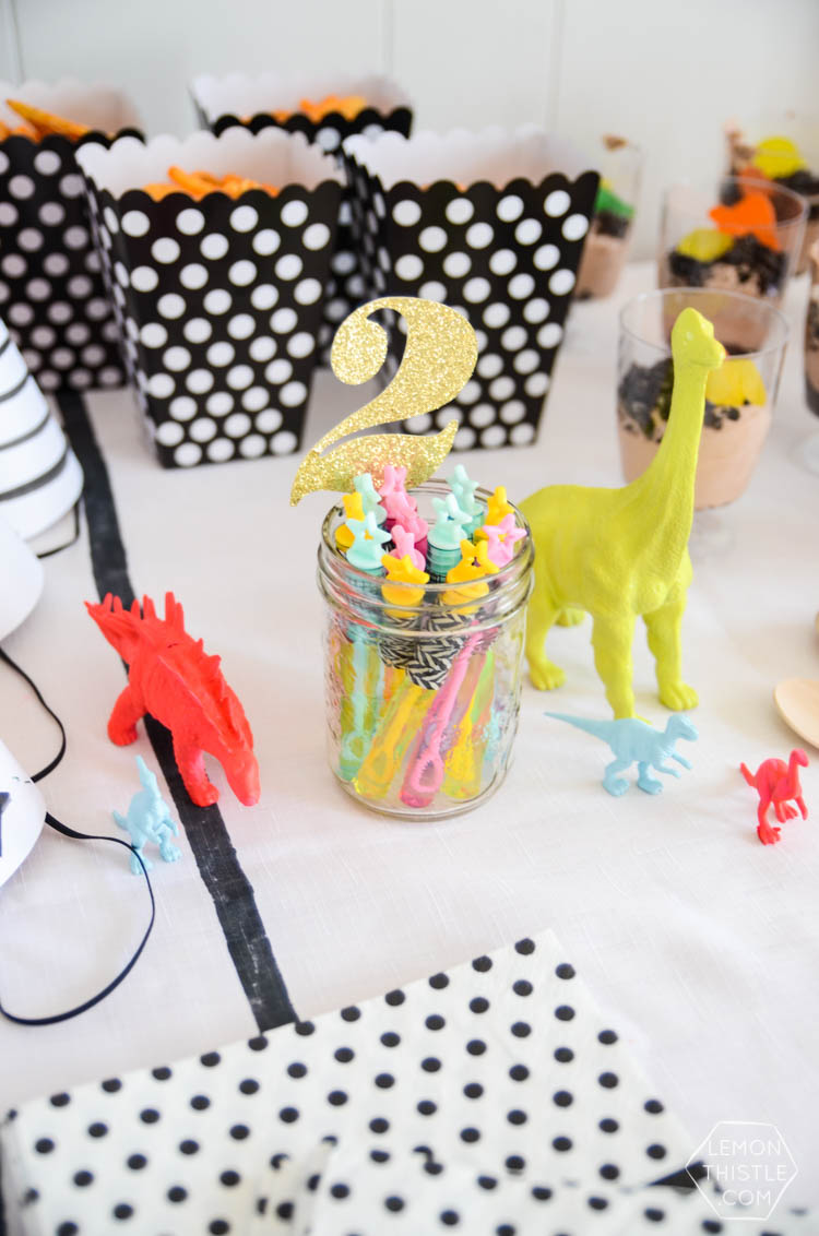 A Modern 2nd Dinosaur Party with lots of black white and neon!