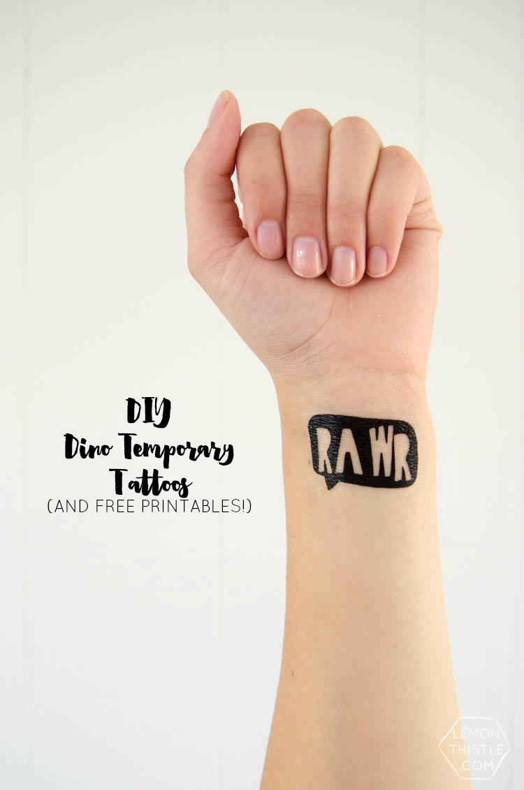 DIY Dinosaur Temporary Tattoo Station and free printables templates! Such a fun activity for a kid birthday party!